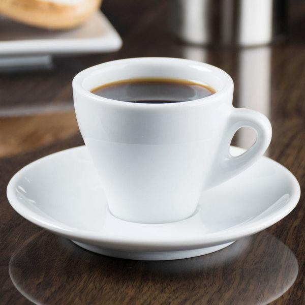 """CAC E-3 Venice 3.5 oz. White Espresso Cup with 4 7/8"""" Saucer - 48/Case Main Image 8"""