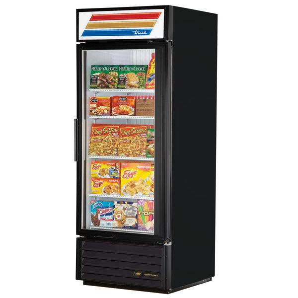 True GDM-26F-LD Black Glass Door Merchandiser Freezer with LED Lighting