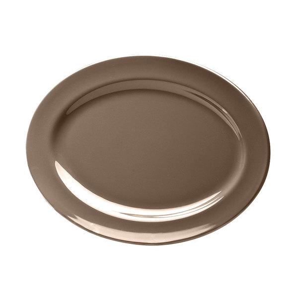 "Elite Global Solutions D1014OV Urban Naturals Mushroom 14 1/2"" x 10 1/2"" Oval Melamine Platter"