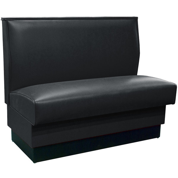 "American Tables & Seating QAS-42 Black 46"" Plain Single Back Fully Upholstered Booth - Quick Ship Main Image 1"