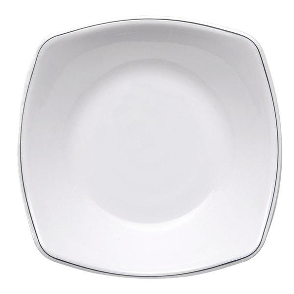 "Elite Global Solutions SD304L Viva 6 1/8"" White Square Entree Plate with Black Trim - 6/Case"