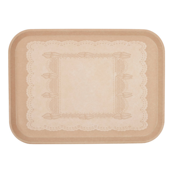 "Cambro 3853246 14 3/4"" x 20 7/8"" (37,5 x 53 cm) Rectangular Metric Doily Light Peach Customizable Fiberglass Camtray - 12/Case"