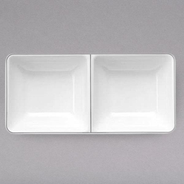 Elite Global Solutions SD150L Viva 4.7 oz. White Rectangular Two Compartment Tray - 6/Case