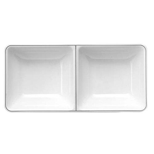 Elite Global Solutions SD150L Viva 4.7 oz. White Rectangular Two Compartment Tray