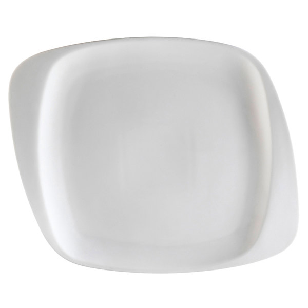 "CAC WH-20 White Pearl 11 1/2"" New Bone White Porcelain Square Plate - 12/Case"