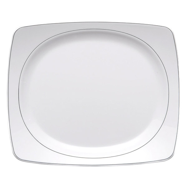 "Elite Global Solutions D3223L Viva 9"" x 7 5/8"" White Rectangular Plate with Black Trim - 6/Case"