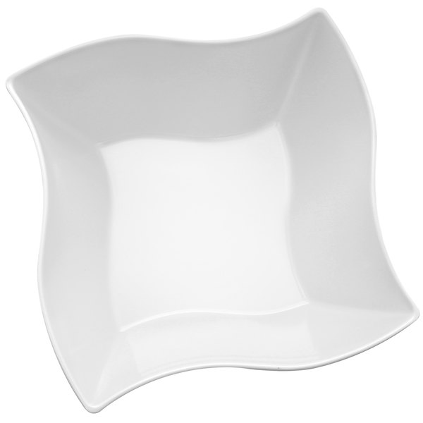 Elite Global Solutions M105NW Wave Display White 5.6 Qt. Square Melamine Bowl