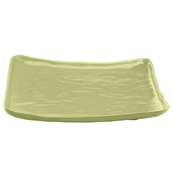 """Elite Global Solutions M14SQRF Tuscany Weeping Willow Green 13 1/2"""" Square Plate"""