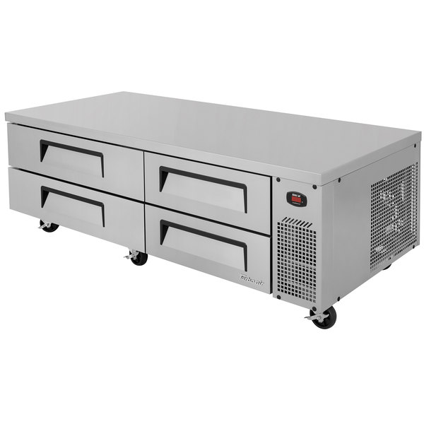 "Turbo Air TCBE-72SDR 72"" Four Drawer Refrigerated Chef Base - 15 cu. ft."
