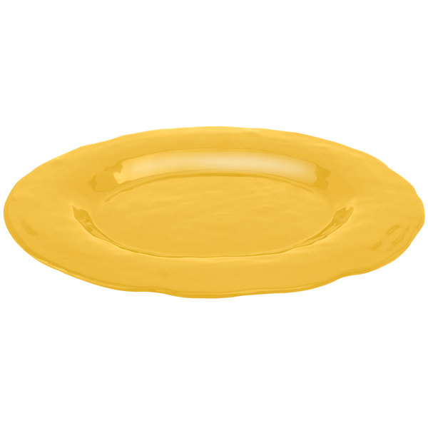 """Elite Global Solutions M16OVRF Tuscany Yellow 17 1/2"""" x 13"""" Oval Platter"""