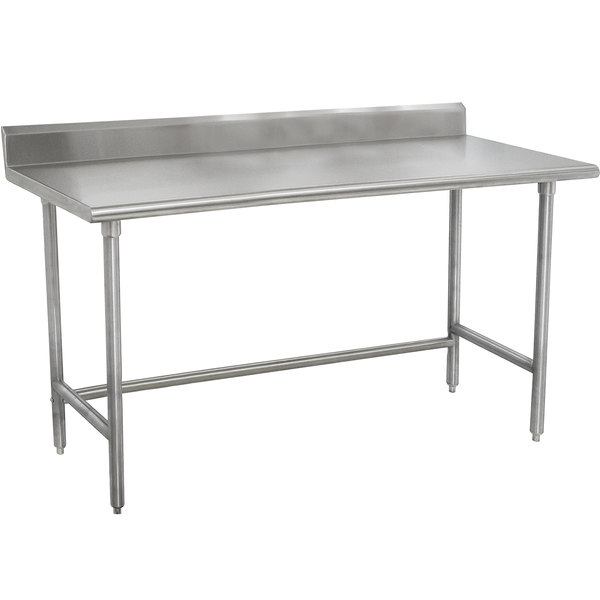 "Advance Tabco TKMSLAG-247-X 84"" x 24"" 16 Gauge Professional Stainless Steel Work Table with 5"" Backsplash"