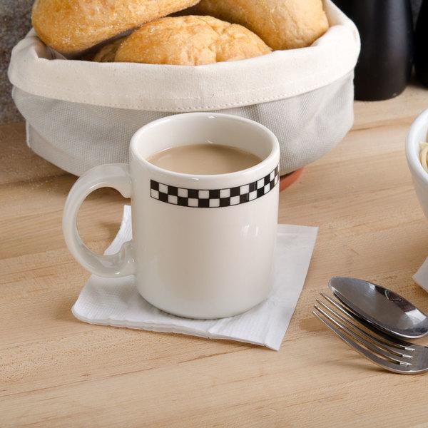Homer Laughlin Black Checkers 9 oz. Creamy White / Off White China Shakespeare Mug - 36/Case