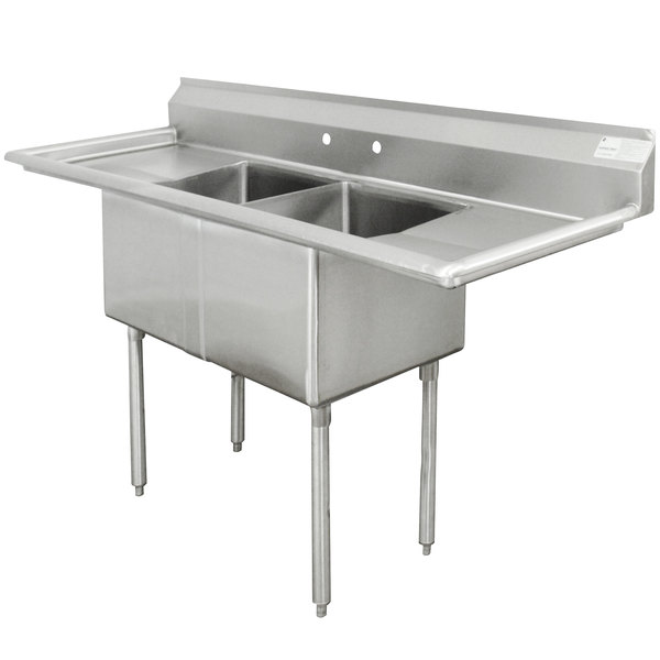 """Advance Tabco FE-2-2424-24RL Two Compartment Stainless Steel Commercial Sink with Two Drainboards - 96"""""""