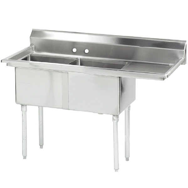 """Right Drainboard Advance Tabco FE-2-1620-18-X Two Compartment Stainless Steel Commercial Sink with One Drainboard - 52 1/2"""""""