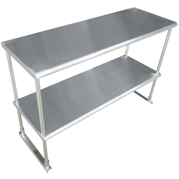 """Advance Tabco EDS-12-48 Stainless Steel Double Deck Knock Down Overshelf - 48"""" x 12"""""""