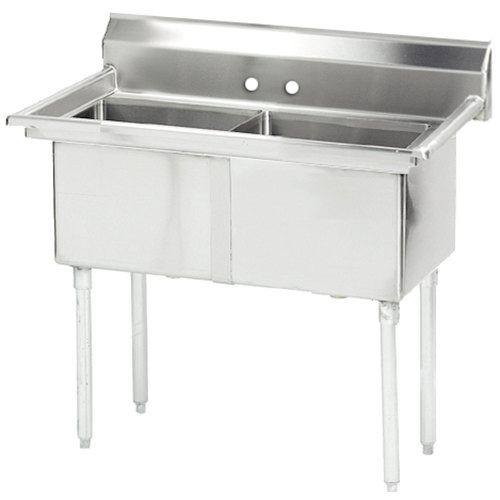 Advance Tabco FE-2-1620 Two Compartment Stainless Steel Commercial Sink without Drainboard - 37""