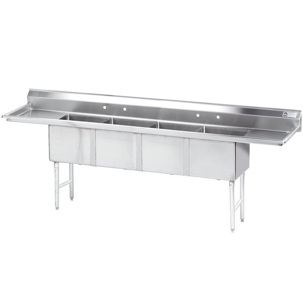 """Advance Tabco FC-4-1818-18RL Four Compartment Stainless Steel Commercial Sink with Two Drainboards - 108"""""""
