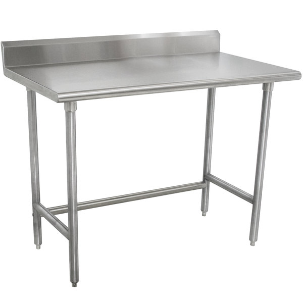 "Advance Tabco TKMSLAG-303-X 36"" x 30"" 16 Gauge Professional Stainless Steel Work Table with 5"" Backsplash"