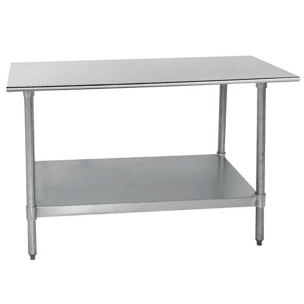"Advance Tabco TT-307-X 30"" x 84"" 18 Gauge Stainless Steel Work Table with Galvanized Undershelf"