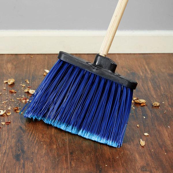 Carlisle 3686714 Duo-Sweep Medium Duty Angled Broom Head with Flagged Blue Bristles