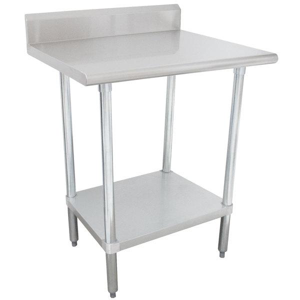 "Advance Tabco KSLAG-242-X 24"" x 24"" 16 Gauge Stainless Steel Work Table with 5"" Backsplash and Adjustable Undershelf"
