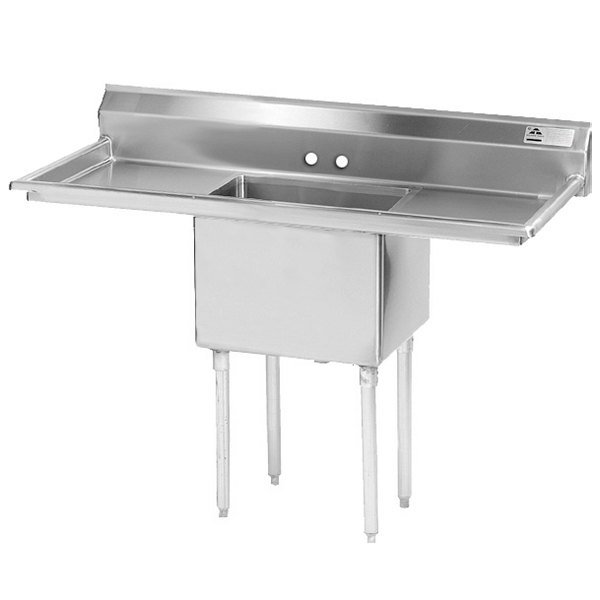 Advance Tabco FE-1-1824-24RL One Compartment Stainless Steel Commercial Sink with Two Drainboards - 66""