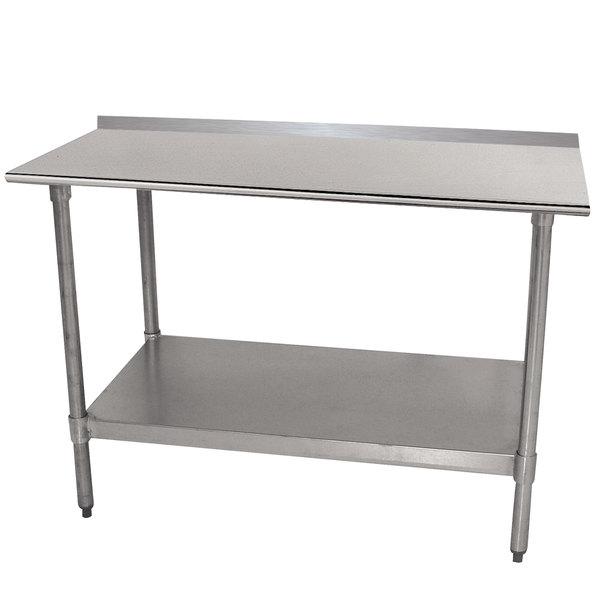 "Advance Tabco TTF-307-X 30"" x 84"" 18 Gauge Stainless Steel Work Table with 1 1/2"" Backsplash and Galvanized Undershelf"