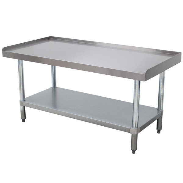 """Advance Tabco EG-LG-3015 Stainless Steel Equipment Stand with Galvanized Legs and Adjustable Undershelf - 30"""" x 15"""""""