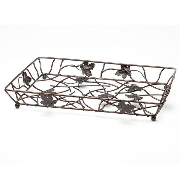 "Elite Global Solutions WB12182 18"" x 12"" Antique Copper Rectangular Metal Leaf Wire Basket"