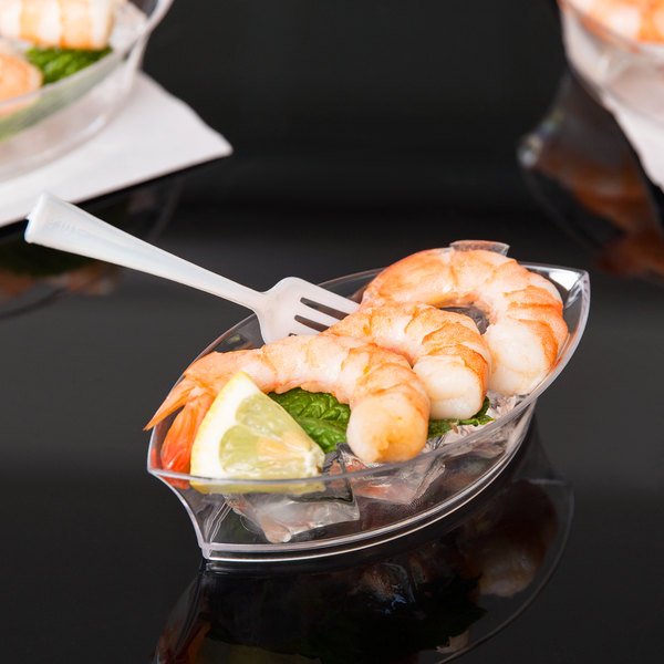 """Fineline 6207-CL Tiny Temptations 4 1/2"""" x 2 1/2"""" Tiny Treasures Disposable Clear Plastic Tray - 10/Pack"""