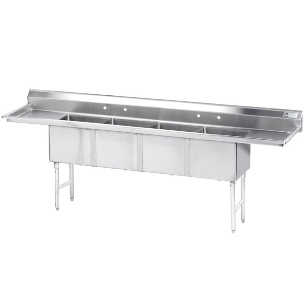 """Advance Tabco FE-4-1812-18RL Four Compartment Stainless Steel Commercial Sink with Two Drainboards - 108"""" Main Image 1"""