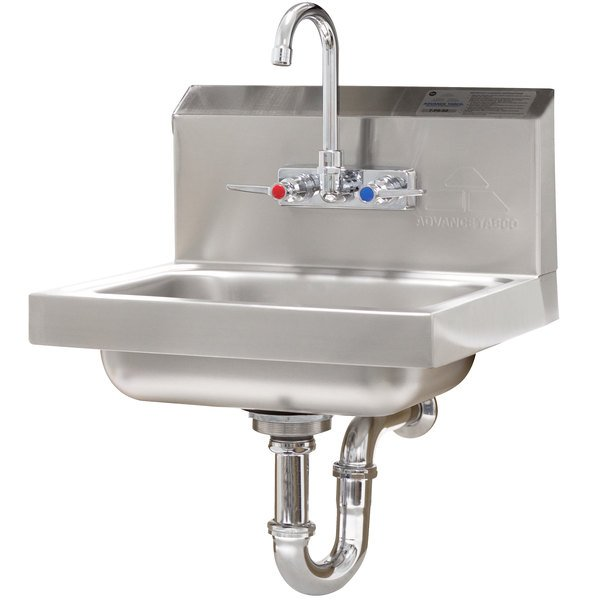 Advance Tabco 7-PS-54 Hand Sink with Splash Mounted Gooseneck Faucet - 17 1/4""