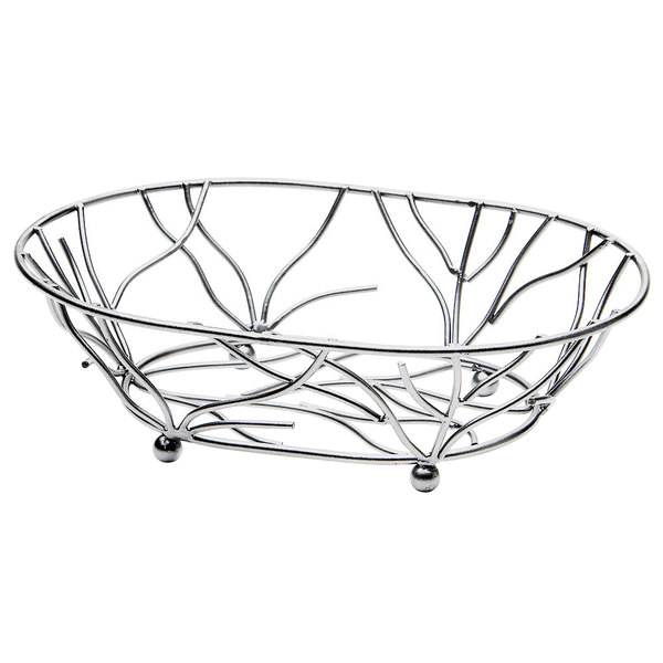 """Elite Global Solutions WB1283 Chrome Oval Metal Wire Basket - 12"""" x 8"""" x 3"""""""