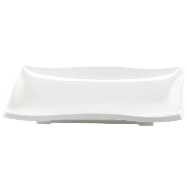 "Elite Global Solutions M96WNW Ming Display White 9 1/2"" x 6"" Rectangular Wave Platter"