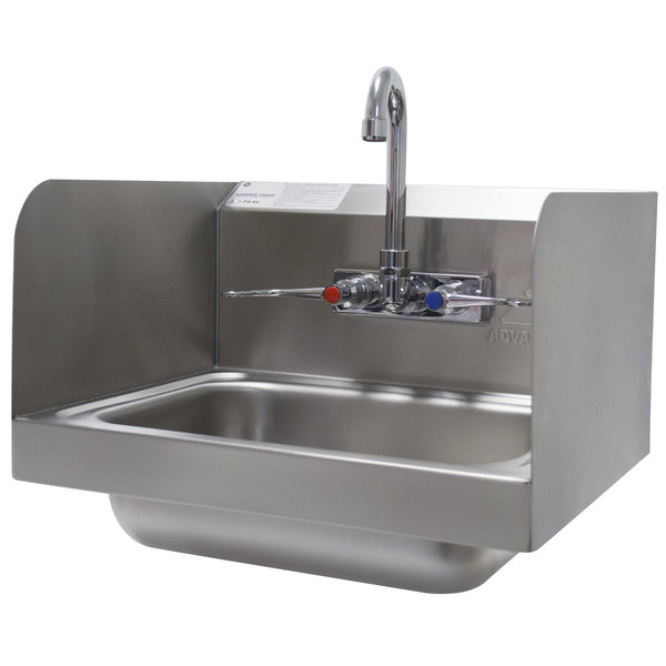 """Advance Tabco 7-PS-66W Hand Sink with Splash Mounted Gooseneck Faucet and Side Splash Guards - 17 1/4"""" Main Image 1"""