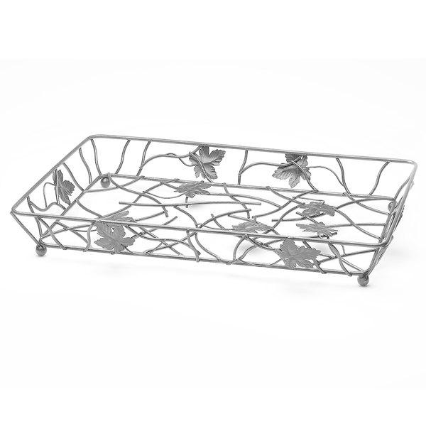 "Elite Global Solutions WB12182 18"" x 12"" Gunmetal Gray Rectangular Metal Leaf Wire Basket"