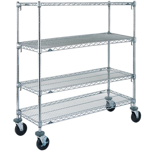 """Metro A536BC Super Adjustable Chrome 4 Tier Mobile Shelving Unit with Rubber Casters - 24"""" x 36"""" x 69"""""""