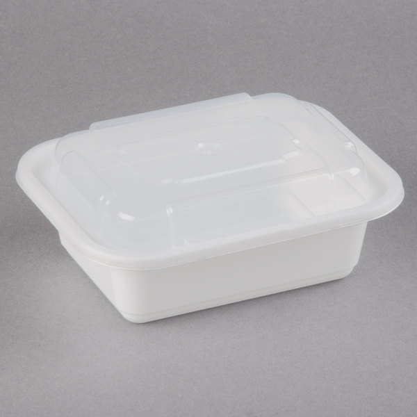Newspring NC-818 12 oz. White 4 1/2 inch x 5 1/2 inch x 1 3/4 inch VERSAtainer Rectangular Microwavable Container with Lid - 150/Case