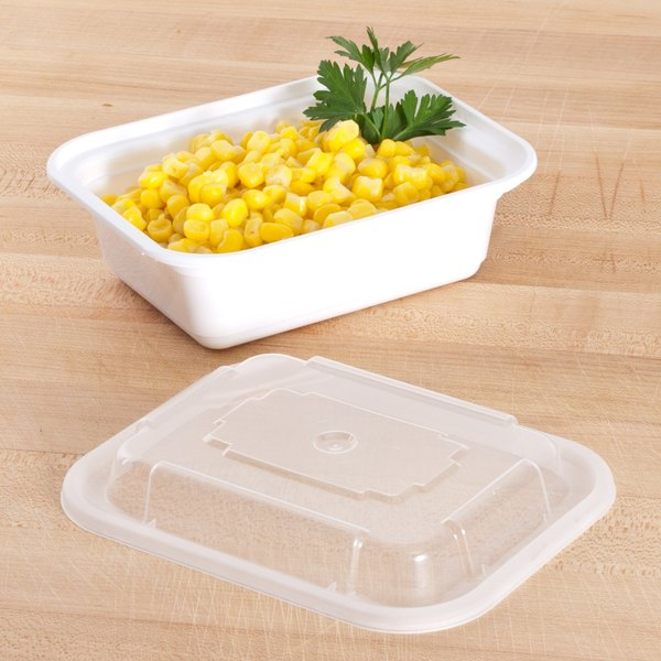"""Pactiv Newspring NC818 12 oz. White 4 1/2"""" x 5 1/2"""" x 1 3/4"""" VERSAtainer Rectangular Microwavable Container with Lid - 150/Case Main Image 7"""