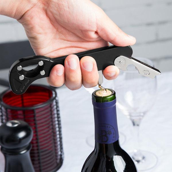 Franmara 2034-01 Boomerang Black Waiter Corkscrew with Cutter