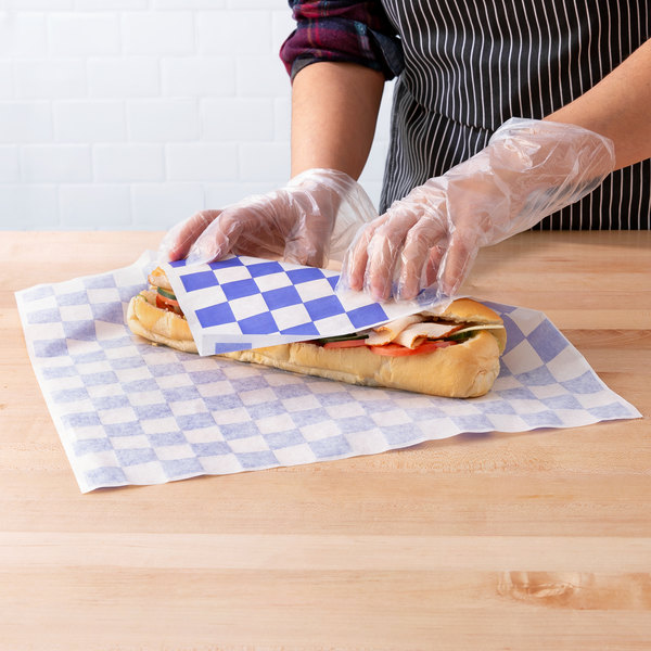 "Choice 15"" x 15"" Blue Check Deli Sandwich Wrap Paper - 1000/Pack Main Image 3"