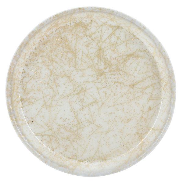 "Cambro 1000526 10"" Round Galaxy Gold Antique Parchment Customizable Fiberglass Camtray - 12/Case"
