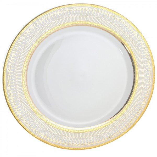 "10 Strawberry Street IRIANA-24(GLD) 12"" Iriana Gold Porcelain Round Charger Plate - 12/Case"