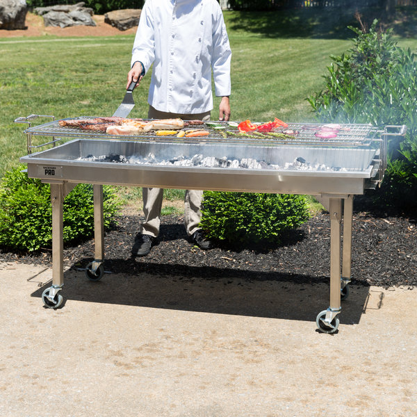 """Backyard Pro CHAR60SS 60"""" Stainless Steel Charcoal Grill with Removable Legs and Cover"""