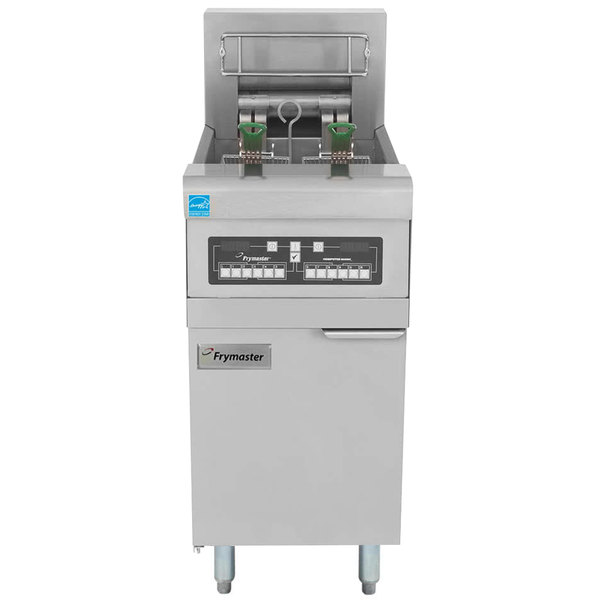 Frymaster RE14-2BLC-SD 50 lb. Split Pot High Efficiency Electric Floor Fryer with Computer Magic Controls and Basket Lifts - 240V, 1 Phase, 14 KW