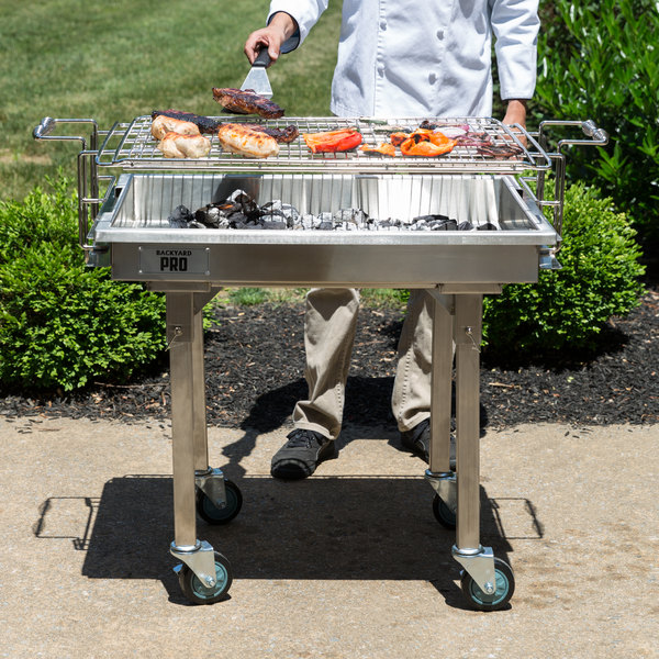 "Backyard Pro CHAR-30SS 30"" Heavy-Duty Stainless Steel Charcoal Grill with Adjustable Grates, Removable Legs, and Cover Main Image 4"