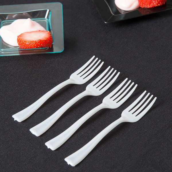 "Fineline Tiny Temptations 6500-WH 3 7/8"" Tiny Tines White Plastic Tasting Fork - 48/Pack"