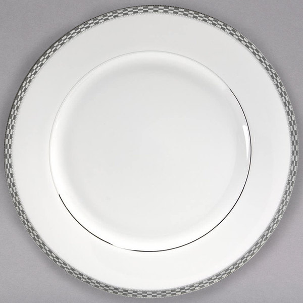 "10 Strawberry Street ATH-24P 11 7/8"" Athens Two-Tone Silver Round Charger Plate - 12/Case"