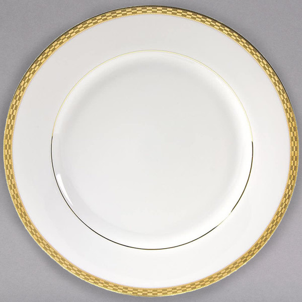 """10 Strawberry Street ATH-24G 11 7/8"""" Athens Two-Tone Gold Round Charger Plate - 12/Case"""