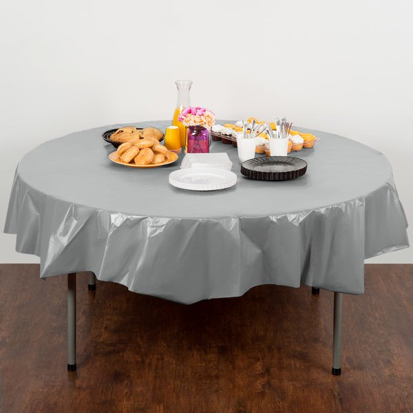 """Creative Converting 703281 82"""" Shimmering Silver OctyRound Disposable Plastic Table Cover - 12/Case Main Image 4"""